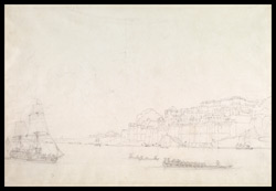 View of the Palace of Raja Balwant Singh, Ramnagar near Benares (U.P.), the Ganges with boats in the foreground
